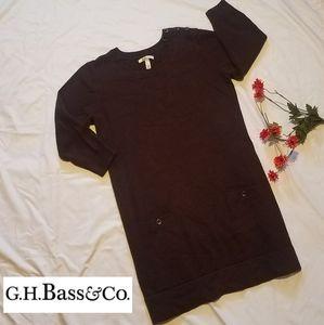 BASS 3/4 sleeve rich brown knit midi sweater dress
